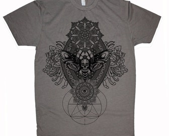 Men's IMPERMANENCE Mandala T-Shirt Psychedelic Dotwork Sacred Geometry Symmetry Death Moth Tee