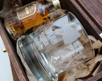 Groomsmen Personalized Whiskey Glass (ONE) Custom Sandblast Engraved DOF Scotch Glass 11oz, Personalized Wedding Gift, Bridal Party Favor