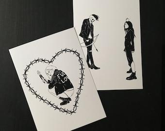 Dark Lovers / Punk Art Post Cards /  Death Love Romance Goth Witchy Graphic Tattoo Art Prints
