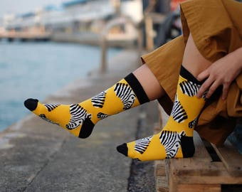 Marty Socks, Zebra Socks, Mismatched Zebra Socks,  Yellow Zebra Socks for Women and Men, Cute Zebra Socks, Women Socks, Men Socks