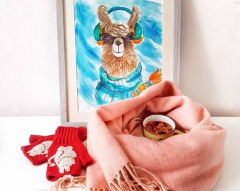 Llama in scarf original watercolor painting cute wall art alpaca nursery decor for kids winter gift for girl baby shower turquoise orange