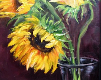 Sunflowers Three in Vase  Barbara Haviland Texas Contemporary Artist STUDIO SALE