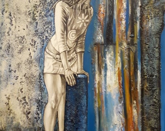 """2017 """"You waiting to see me again Painting"""" by Cesar Morris - Mixed Technique on Canvas - Made in Canada"""