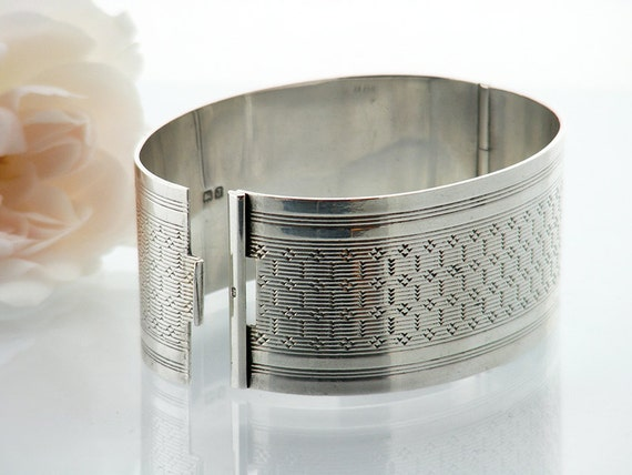 Vintage Sterling Silver Cuff Bracelet | 1933 Hinged Bangle | Art Deco Geometric Design Silver Sterling Silver Cuff - Wide Cuff, Small Size