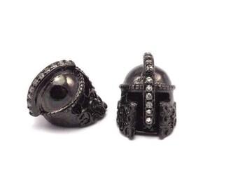 1 Gunmetal Gladiator Helmet Beads, Cz Micro Pave Bead (15x10mm) W00743 B-4