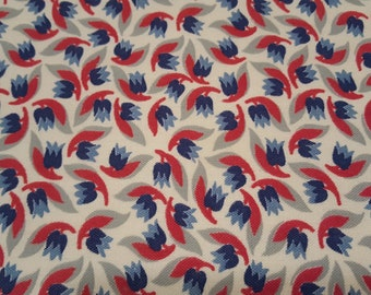 FQ Vintage FEEDSACK fabric - 19 x 20 - RED white blue tulips navy