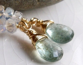 Spring fashion - Moss aquamarine moonstone dangle earrings - March birthstone - wire wrapped gold filled gemstone jewelry