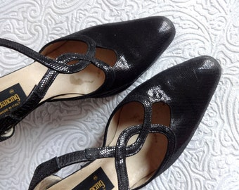 Vintage Dance Shoes Cross Strap Black Leather Shoes Italian Vintage Shoes Women's Leather Shoes Suede Leather Outsole EUR 39 1/2