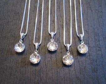 SET of 3,4,5  Bridesmaid Necklaces/Swarovski Crystal Necklace/Swarovski Necklace/Wedding Jewelry/Bridesmaid Jewelry/Clear Crystal Necklace