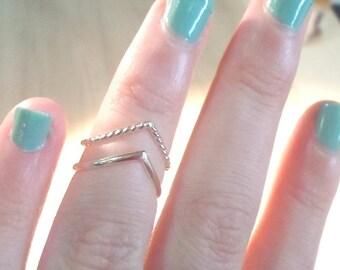 Chevron rings, Silver rings, silver chevron, midi rings, stacking rings, rope rings, knuckle rings, silver midi rings, silver stack