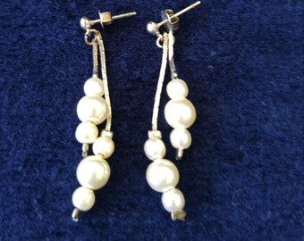 Pearl and Antiqued Sterling Silver Dangle Earrings