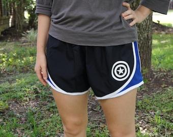 Captain America Shield Athletic Shorts - Gym, Work Out, Exercise, Athletic, Running Clothing