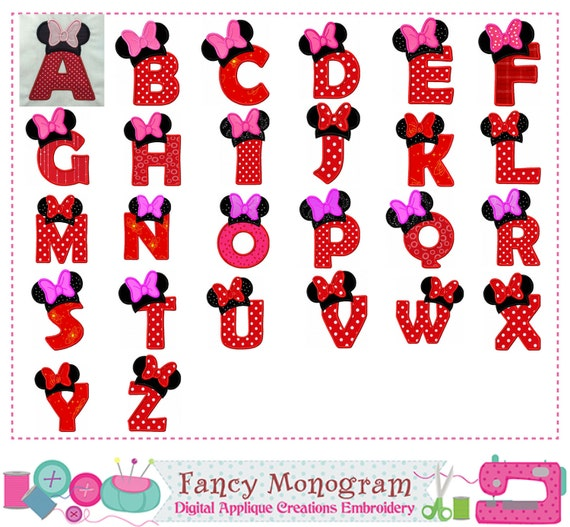 minnie mouse font minnie monogramma a z applique applique di lettere 6364