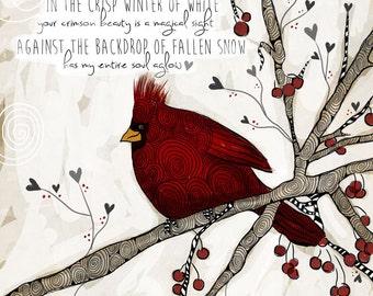 Snow Cardinal / original illustration ART Print SIGNED / 8 x 10 / NEW