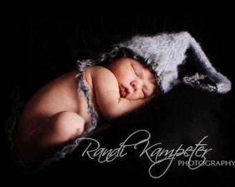 SALE Stocking Baby Hat, Newborn Photo Prop, Baby Hat, Newborn Hat, Light Blue