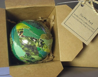 Handmade Paper Mache Christmas Tree Ornament -Jade Green Large 3 inch-  Art for the Trees!