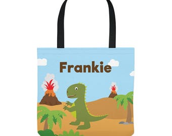 Dinosaur Tote Bag - Personalized bag - Dinosaur Bag for Kids - Three Sizes to Choose From - Great for library, lessons, and more!