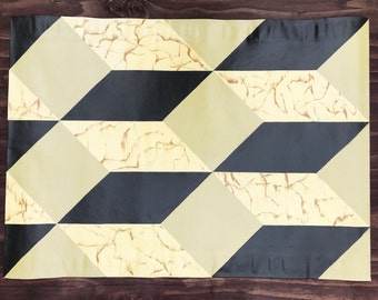 Faux Marble Geometric Blocks, Hand Painted Canvas Rug, Floor Cloth, Floorcloth