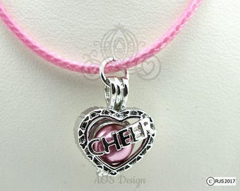 Pick A Pearl Cage Silver Plated Cheer Heart Love Charm Locket Cheerleader on PINK CORD