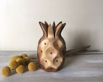 Pineapple art decor, wooden carved pineapple, vintage carved wood pineapple, beach house decor, boho decor, toothpick holder, vintage decor