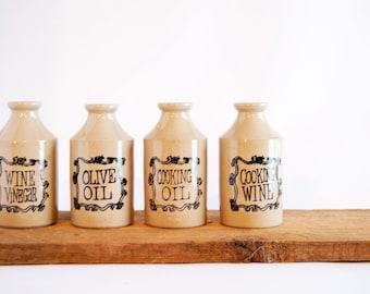 Set of Four (4) Vintage Antique Ceramic Olive Oil Cooking Oil Wine Vinegar Jars Made in England