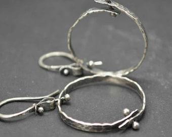 Sterling Hoop Earrings, Large Hoop Earrings, Kinetic, Distressed Silver, Pinned, Metalsmith Jewelry