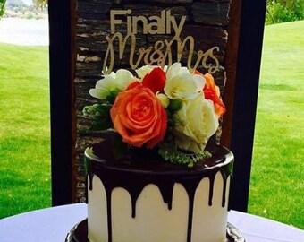Cake topper -- Finally Mr & Mrs Wedding Cake Topper - Raw Wood