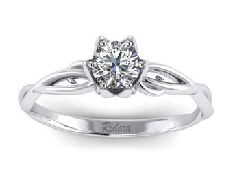 Flower Petal Engagement Ring - 14k White Gold w/ Moissanite