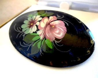 Russian Hand Painted Floral Brooch Signed