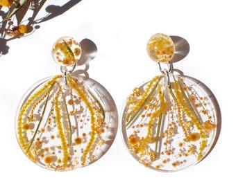 Golden wattle dreams~ statement sized earrings- Rumble Sky