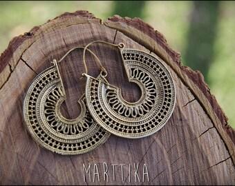 Bronze earrings. Brass earrings tribal ethnic style. Mandala Earrings