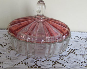 "Pressed Glass Candy Dish w Pink Lid (7"")"