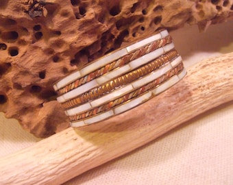 Bracelet Brass and Copper and Mother of Pearl   -- old jewelry  -- heavy patina( FREE SHIPPING SALE)