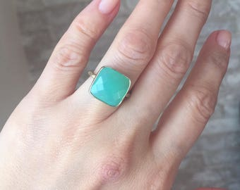 Vermeil Chrysoprase Ring, Minimalist Jewelry, Gemstone Ring, Stacking ring, Faceted jewelry