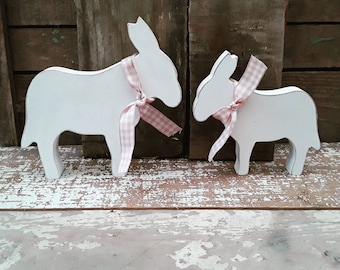 Hand Painted Wooden Donkey, Donkey Decoration, Donkey Ornament, Easter Ornament, Donkey Lover Gift, Cute Donkey Gift