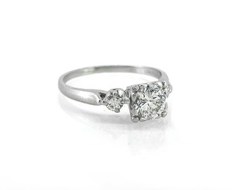 1.00ct. Diamond Art Deco Antique Engagement Ring Platinum - J36873