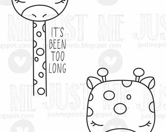 long-necked giraffe valentine digital stamp