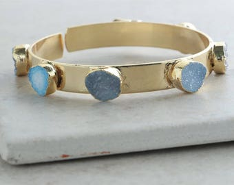 Druzy Quartz Cuff Bracelet - Gold Gemstone Bangle