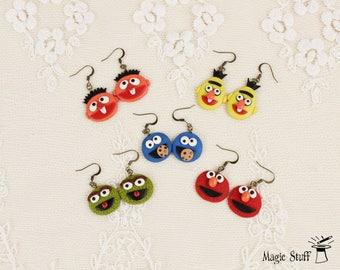 Sesame Street earrings Muppet Show jewelry Kids gift Elmo earrings Cookie Monster earrings Oscar The Grouch earrings Bert and Ernie earrings