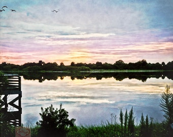 Sunrise Sunset Dock On the Lake Peaceful Serene Nature - Fine Art Photograph Print Picture