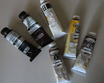 Vintage Windsor & Newton/Bellini Artists' Oil Color / Pre-tested / Oil Paints / Artist Painting Supplies / Metal Paint Tubes / 6 Tubes