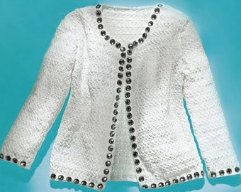 Crochet jacket pattern, designer crochet jacket PATTERN, wedding crochet jacket pattern, exquisite design, detailed description in English.