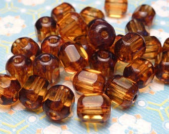SALE - Amber Topaz Glass Cathedral Beads 6mm - 20pc