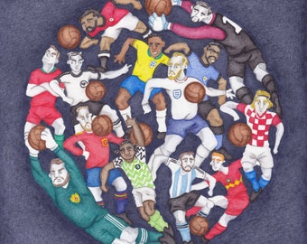 2018 Russia World Cup - A Limited Edition Football Fine Art Print, from an Original Watercolour Painting by Paul Hainsworth (Size: 20x25cm)