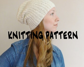 Knitting PATTERN Knit Hat Knitting Pattern Beanie Pattern Slouch Slouchy Hat Pattern Instant Download DIY Baggy Hat Pattern
