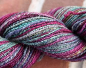 Merino Silk blend Maroon Turquoise Gray Handspun Yarn 236 Yds Navajo plyed #807
