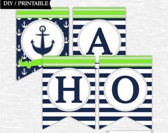 Instant Download Lime Green, Navy, Ahoy! Its a Boy Banner Nautical baby Shower DIY Printable (PDNR001)