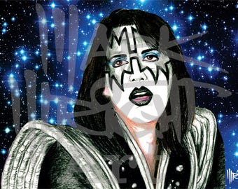 KISS Ace Frehley 11 x 17 Art Print from Original Artwork by Mark Wright