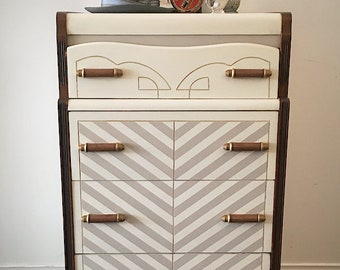 Upcycled vintage wood art deco style dresser