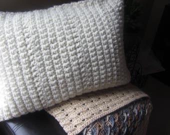 Decorative Pillow Crochet White Thick Knit